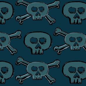 Pirate's Life - Teal Subtle Skulls and Crossbones - Large