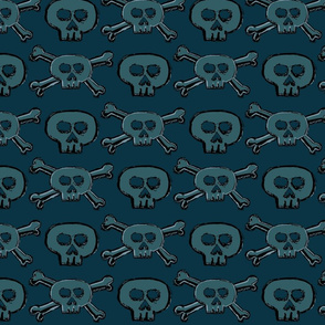 Pirate's Life - Teal Subtle Skulls and Crossbones - Medium