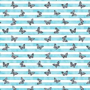 Micro Grey Butterflies on Sky Blue Stripes