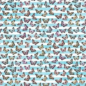 Micro Pastel Rainbow Butterflies on Sky Blue Stripes