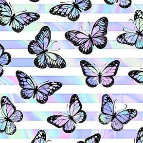 Iridescent Butterflies on Marbled Unicorn Stripes