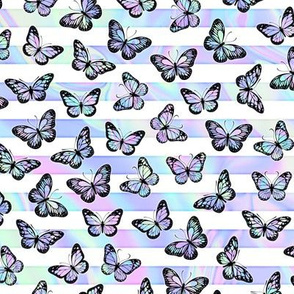 Small Iridescent Butterflies on Marbled Unicorn Stripes