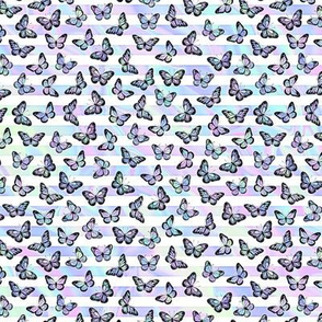 Micro Iridescent Butterflies on Marbled Unicorn Stripes