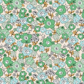 Flower garden romantic vintage boho style victorian leaves and flowers minty green orange