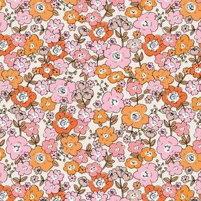 Flower garden romantic vintage boho style victorian leaves and flowers orange pink rust beige brown