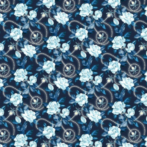 Flowers and Fireflies - midnight sapphire blue small print