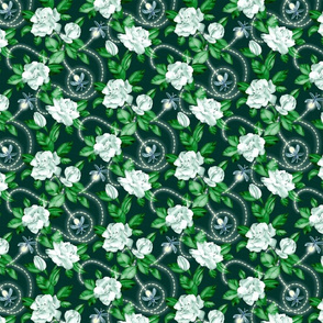 Flowers and Fireflies - emerald green small print