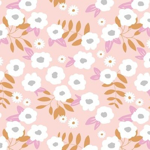 Daisies and buttercup lilies boho garden summer soft pink cinnamon white