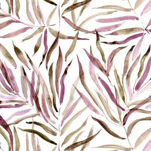 Burgundy palm springs - watercolor tropical leaves for modern home decor, bedding