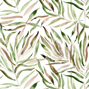 Large scale palm springs in khaki and earthy - watercolor tropical leaves for modern home decor, bedding - scandi nature leaf pattern