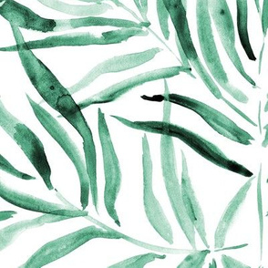Emerald palm springs - watercolor tropical leaves