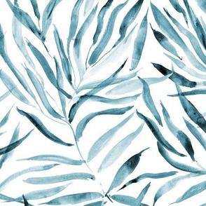 Denim blue palm springs - watercolor tropical leaves