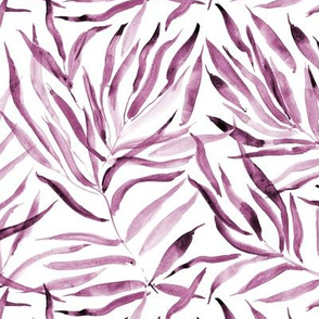 Burgundy palm springs - watercolor tropical leaves p289