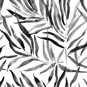 Noir palm springs - watercolor grey tropical leaves p289