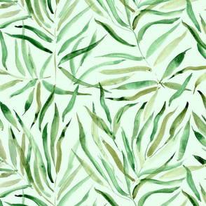 Palm springs on green - large scale watercolor tropical leaves for modern home decor, bedding, nursery