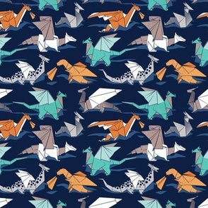 Tiny scale // Origami dragon friends // oxford navy blue background aqua orange grey and taupe fantastic creatures
