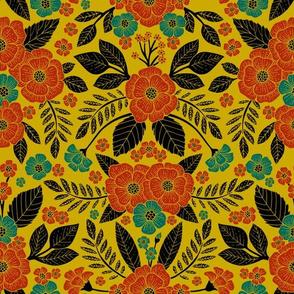 Vibrant Floral Pattern - Mustard Yellow, Orange & Teal