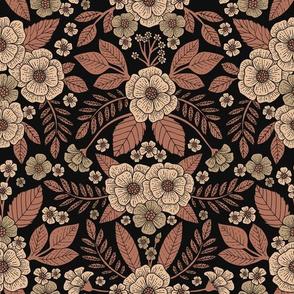 Mauve, Brown & Black Floral Pattern