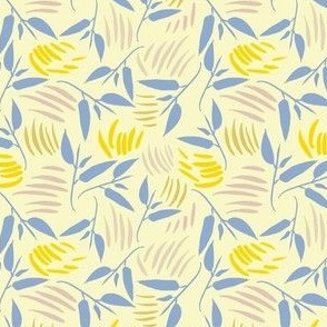 Twisting leaves in lemon yellow and blue