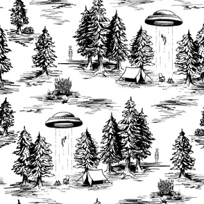 Large-Scale Black & White Alien Abduction Toile de Jouy