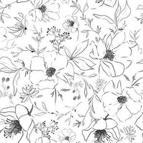 Sketch Flowers // White