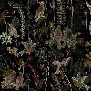 birds n wildflowers velvet