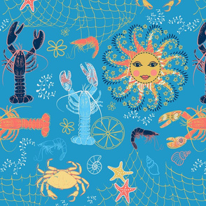 shellfish teal blue and coral