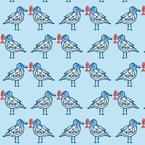 seagulls sharing fish blue