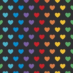 Rainbow Hearts | Bright on Black