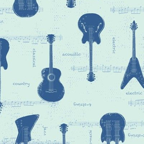 Block Print Guitars in Blue - Medium 4""