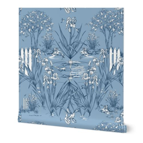 Toile Iris Pond Pattern | Cottage Blue + Navy + White  | Repeating Pattern