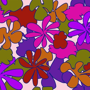 flower power cartoon like flowers purple and pink
