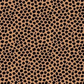 Ink drops animal print spots and dots wild cat neutral nursery caramel black