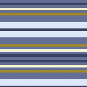 Stripes in blue, navy, mustard and cream
