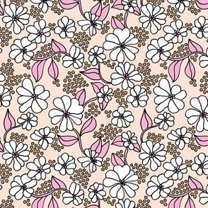 Retro blossom summer garden boho style neutral nursery design sand blush pink white