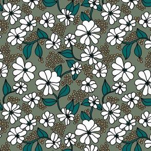 Retro blossom summer garden boho style neutral nursery design camo green emerald caramel white
