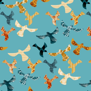 Abstract birds-BLUE-large