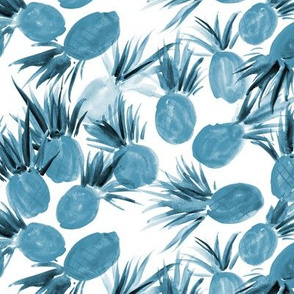 Sweet pineapples from Seychelles in teal - watercolor tropical 290