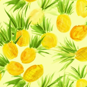 Sunny sweet pineapples from Seychelles - watercolor tropical summer pineapple print for modern home decor, bedding, nursery