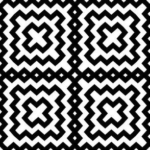 Black and White Geometric Square Pattern