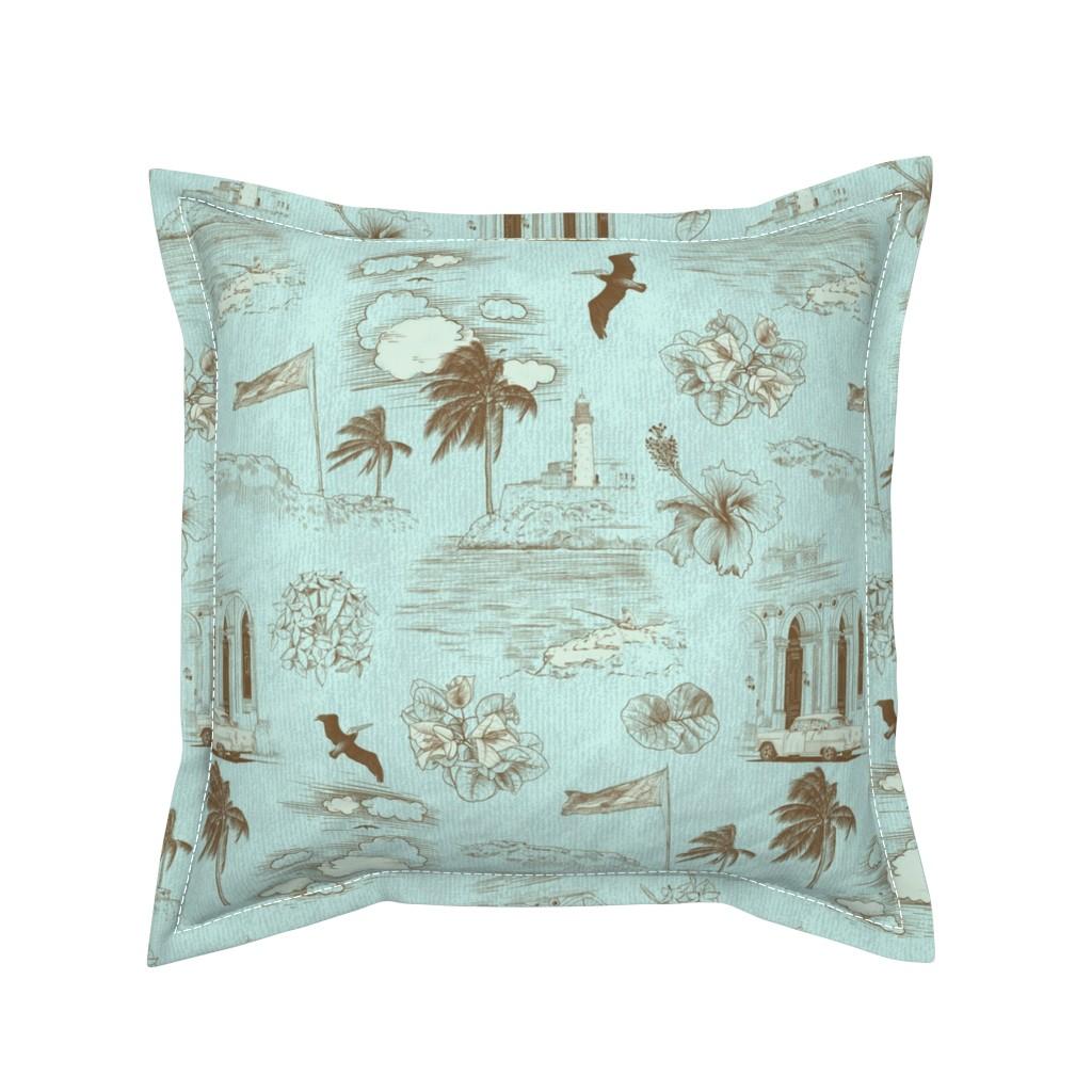 Serama Throw Pillow featuring Havana Dreams - Toile de Cuba by marlenewagenhofer_art