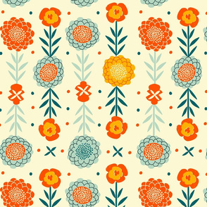 vintage folk art florals // sand // large scale