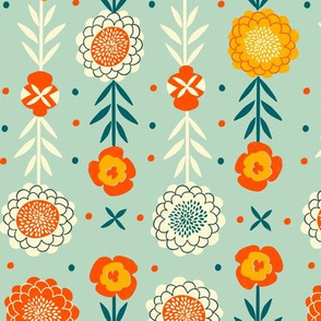 vintage folk art florals // mint // small scale