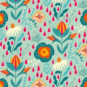 folk art garden rain // mint // small scale