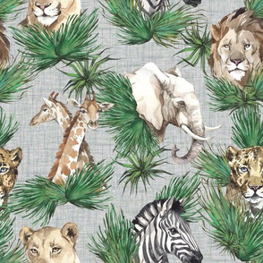 Jungle animal heads with frond on gray linen