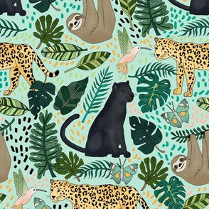 Emerald Forest Animals on Mint Green