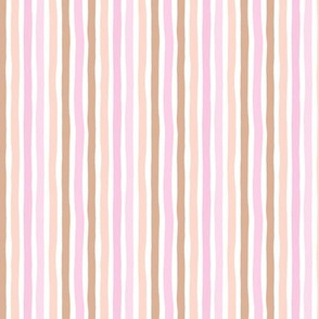 Boho strokes and circus stripes modern Scandinavian style minimal vertical lines basic neutral nursery pink peach and rust