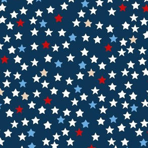 Little sparkly night USA 4th of July stars basic star texture navy blue red MEDIUM
