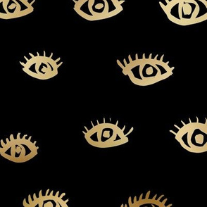 Watch me watching you pop minimal trend eyes eye lashes raw drawing ink metallic golden  black