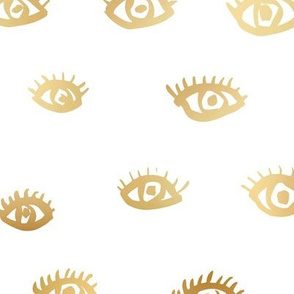 Watch me watching you pop minimal trend eyes eye lashes raw drawing ink metallic golden  white